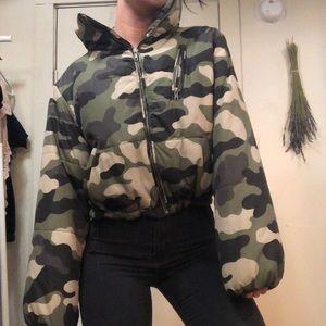 Forever 21 camo puffer coat